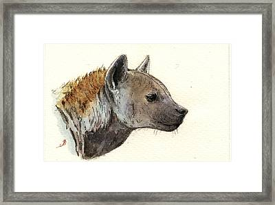Hyena Head Study Framed Print by Juan  Bosco