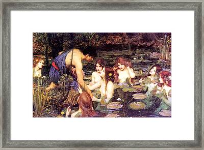 Hylas And The Nymphs Framed Print by John William Waterhouse