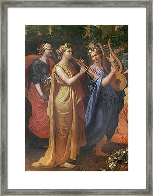 Hymenaios Disguised As A Woman During An Offering To Priapus, Detail Of The Musicians, C.1634-38 Framed Print by Nicolas Poussin