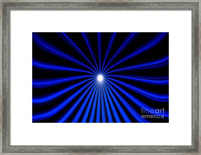 Framed Print featuring the painting Hyperspace Blue Landscape by Pet Serrano