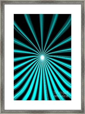 Framed Print featuring the painting Hyperspace Cyan Portrait by Pet Serrano