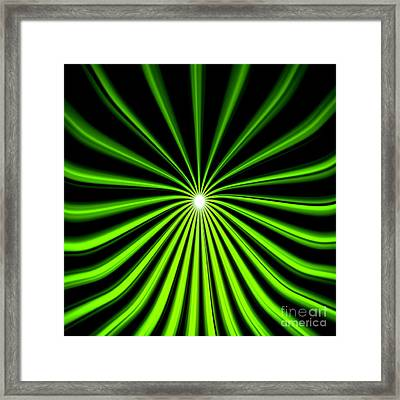 Hyperspace Electric Green Square Framed Print