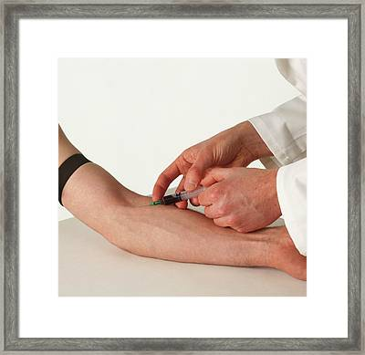 Hypodermic Needle Inserted Into Forearm Framed Print by Dorling Kindersley/uig