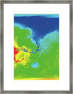 Hypothetical Water Map Of Mars Framed Print by Detlev Van Ravenswaay