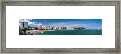 Framed Print featuring the photograph Hyundae Beach by Brad Brizek