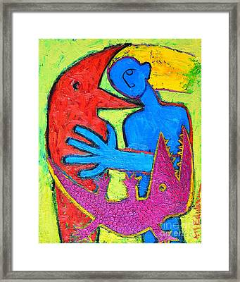 I Am Blue But Still Alive Do Not Eat Me Framed Print by Ana Maria Edulescu