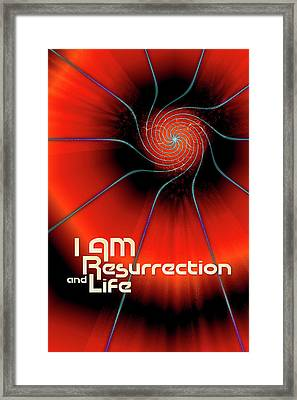 Framed Print featuring the digital art I Am Resurrection And Life by Chuck Mountain