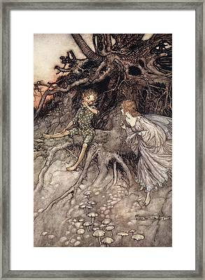 I Am That Merry Wanderer Of The Night Framed Print by Arthur Rackham