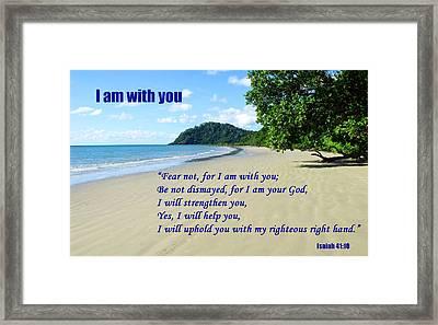 I Am With You Beach Scene Framed Print