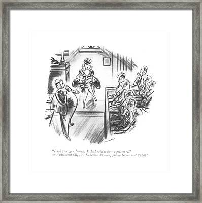 I Ask You, Gentlemen. Which Will It Be - A Prison Framed Print by Leonard Dove