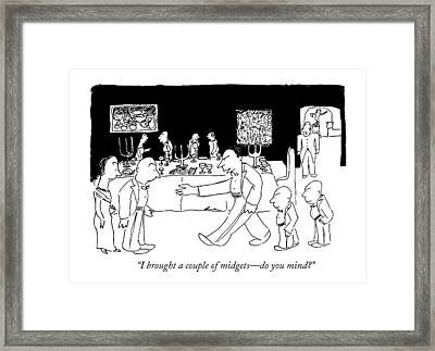 I Brought A Couple Of Midgets - Do You Mind? Framed Print by James Thurber
