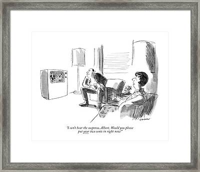 I Can't Bear The Suspense Framed Print by James Stevenson