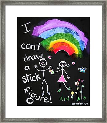 I Can't Draw A Stick Figure Mixed Media Kids Room Painting Framed Print