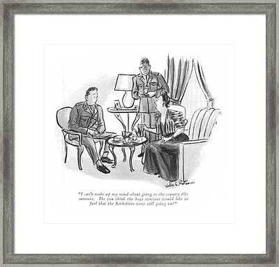 I Can't Make Up My Mind About Going Framed Print by Helen E. Hokinson