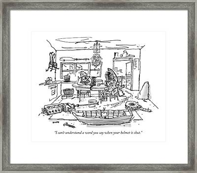 I Can't Understand A Word You Say When Framed Print by George Booth