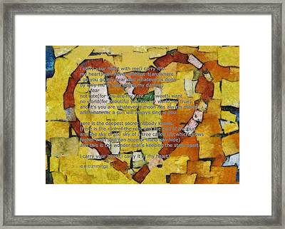 I Carry Your Heart Framed Print by Poetry and Art