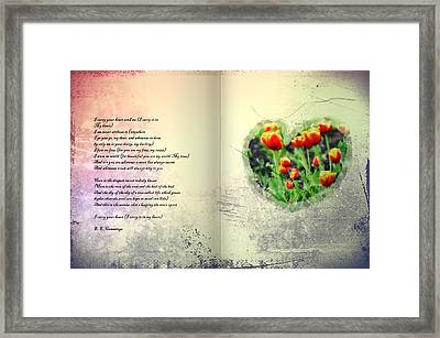 I Carry Your Heart With Me  Framed Print by Bill Cannon