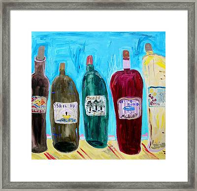 I Choose Wine By The Label Framed Print by Mary Carol Williams
