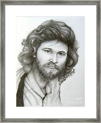 Framed Print featuring the drawing Barry Gibb by Patrice Torrillo