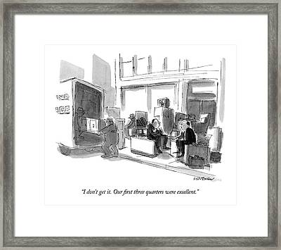 I Don't Get It.  Our First Three Quarters Framed Print by James Stevenson