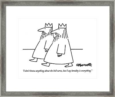 I Don't Know Anything About The Bell Curve Framed Print by Charles Barsotti