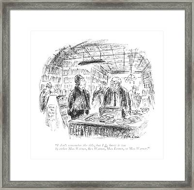 I Don't Remember The Title Framed Print by Alan Dunn