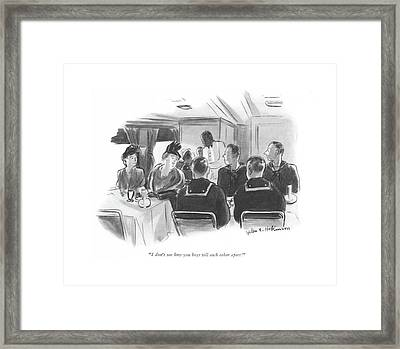 I Don't See How You Boys Tell Each Other Apart! Framed Print by Helen E. Hokinson