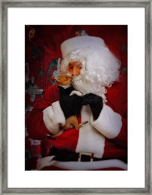 I Have Been A Good Pooch Santa Framed Print by Susan Candelario