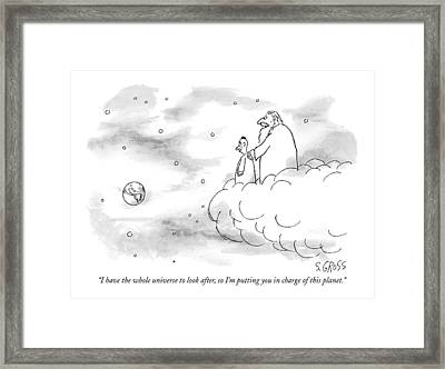 I Have The Whole Universe To Look Framed Print by Sam Gross