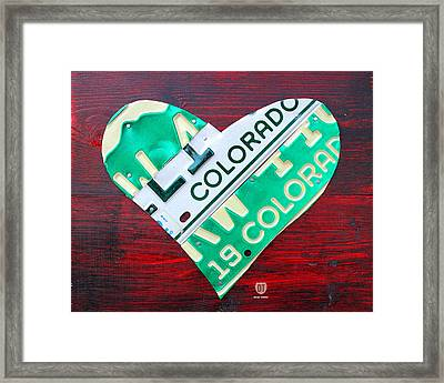 I Heart Colorado License Plate Art Framed Print
