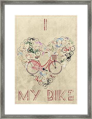 I Heart My Bike Framed Print