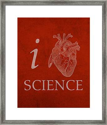 I Heart Science Humor Poster Framed Print by Design Turnpike