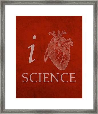 I Heart Science Humor Poster Framed Print