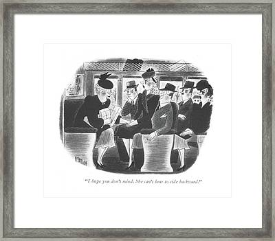 I Hope You Don't Mind. She Can't Bear To Ride Framed Print by Richard Taylor