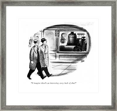 I Imagine There's An Interesting Story Back Framed Print by Louis Jamme