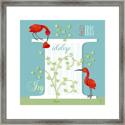 I Is For Ibis And Ivy Framed Print