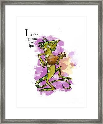 I Is For Iguana Framed Print by Sean Hagan