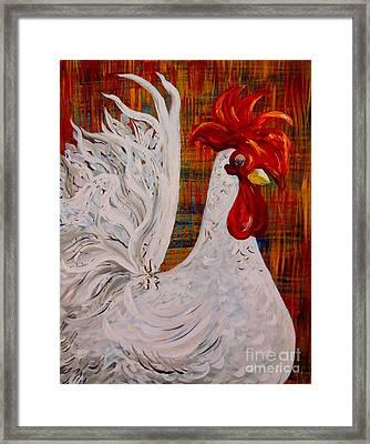 I Know I Am Lovely - White Rooster Framed Print by Eloise Schneider