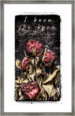 I Know You Know Framed Print by Weston Westmoreland