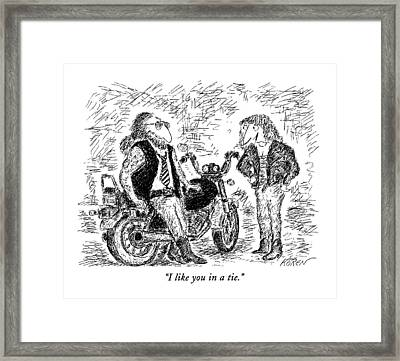 I Like You In A Tie Framed Print by Edward Kore