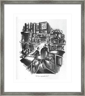 I Lost My Whistle Framed Print by Otto Soglow