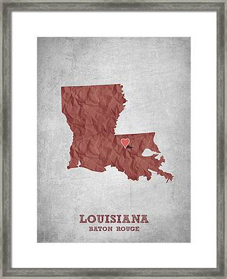 I Love Baton Rouge Louisiana - Red Framed Print