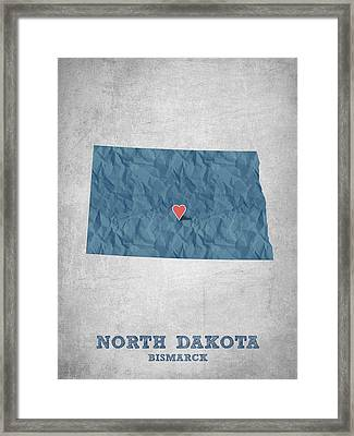 I Love Bismarck North Dakota - Blue Framed Print by Aged Pixel