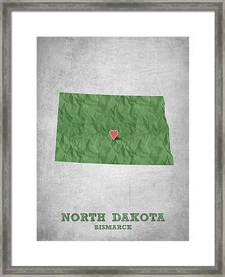 I Love Bismarck North Dakota - Green Framed Print by Aged Pixel