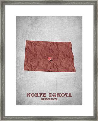 I Love Bismarck North Dakota - Red Framed Print by Aged Pixel