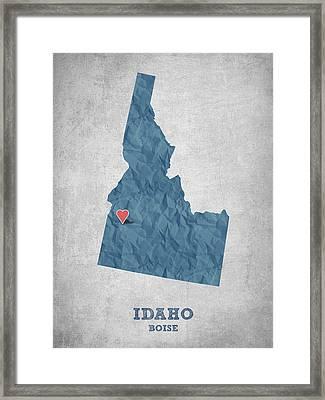 I Love Boise Idaho- Blue Framed Print by Aged Pixel