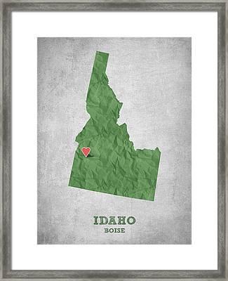 I Love Boise Idaho- Green Framed Print by Aged Pixel