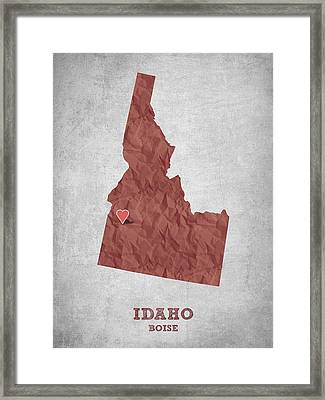 I Love Boise Idaho- Red Framed Print by Aged Pixel