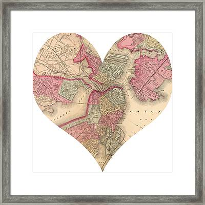 I Love Boston Heart Map Framed Print by Georgia Fowler