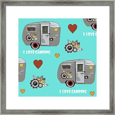 I Love Camping Pattern Framed Print by Sarah Ogren